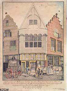 De huidige locatie van de houten gevel, aan de zijkant van het pand Wagenaarstraat 1 te Middelburg. Een uitgebreid artikel over de geschiedenis van de houten gevel en de restauratie in 1990 is te vinden in Archief 1992.