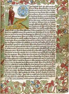 Fasciculus temporum… Utrecht: Jan Veldenar, 14 februari 1480 [1114 C 20] Bladzijde uit de oudste incunabel van het genootschap.