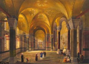 Een lithografie van Louis Haghe uit: Aya Sofia: as recently restored by order of H.M. the sultan Abdul Mediid: from the original drawings by chevalier Gaspard Forsati… London: Colnachi, 1852 [3144 B 3]