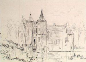 Zelandia Illustrata II-970. Popkensburg. Tekening door J. Pelgrom, 1859. In bruikleen bij Zeeuws Archief