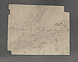 Kaart van Nepal door Samuel van de Putte, ca. 1730 (hs. 3531).
