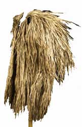 Mantel van boombladeren van de Dajaks op Borneo, midden 19de eeuw. Geschonken door J. Luteijn in 1862[ZM: G.2347]