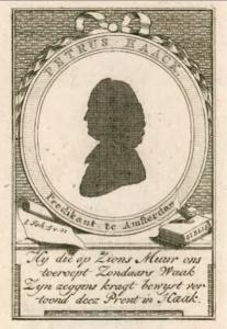 Petrus Haack (1747-1824), predikant o.a. te Noordgouwe (1769-1774), Sommelsdijk (1777-1782), silhouet, met een gedicht. Zeeuws Archief, Zeeuws Genootschap, Zelandia Illustrata, deel IV, nr 414