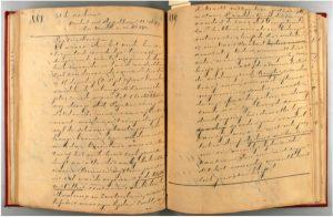 Hs. 6152, p. 888-889, aantekenboek Frederik Nagtglas,tweede helft negentiende eeuw.In bruikleen bij de Zeeuwse Bibliotheek.