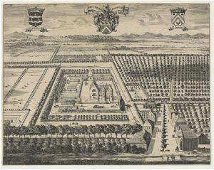 Zelandia Illustrata II-963. Gezicht op het kasteelPopkensburgen omgeving.Bovenaan in het midden het wapen Boudaen.Ter weerszijden die van Popkensburg (links) en Sint Laurens (rechts).Kopergravure uit Smallegange, Cronyk van Smallegange,Middelburg 1694. Hoog 26,8 cm, breed 34,4 cm.
