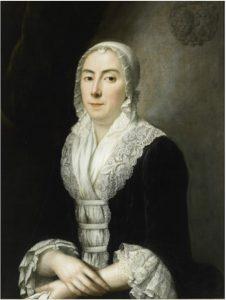 G 1564. Portret Anna Sara Boudaen (1718-1781),toegeschreven aan J. Appelius. Dit schilderij hing boven de schoorsteen rechts. Olieverf op doek, hoog 81 cm, breed 60 cm. In bruikleen bij het Zeeuws Museum.