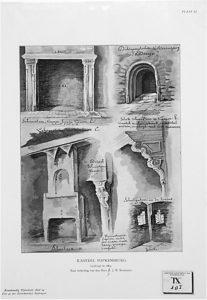 Zelandia Illustrata II-975. Reproductie naar tekeningen van F.J.M. Bourdrez.Uit Bouwkundig Tijdschrift, deel 19 (1901), pl. VIII-XI. Hoog 35 cm, breed 25 cm.In bruikleen bij het Zeeuws Archief.