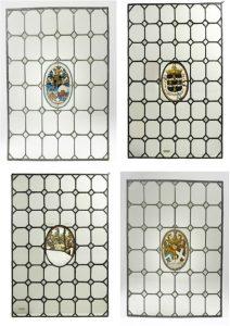 G 1721 en 1722. Vier glas-in-loodramen met de wapens van de echtparenVan der Stringe/Van Citters, Boudaen/Courten, Boudaen/Hoeufft en de heerlijkheid Popkensburg,eind zeventiende eeuw. Glas, hoog 78 cm, breed 63 cm.In bruikleen bij het Zeeuws Museum.