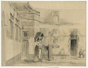 Zelandia Illustrata II-977. Binnenplaats vanPopkensburg.Tekening door J. Pelgrom, 1859. Hoog 28,6 cm, breed 35,7 cm.In bruikleen bij het Zeeuws Archief.