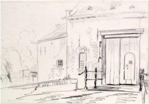 Zelandia Illustrata II-976. Voorpoort van kasteelPopkensburg.Tekening door J. Pelgrom, 1859. Hoog 28,6 cm, breed 37,5 cm.In bruikleen bij het Zeeuws Archief.