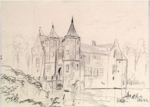 Zelandia Illustrata II-970.Popkensburg.Tekening door J. Pelgrom, 1859. Hoog 23,4 cm, breed 32 cm.In bruikleen bij het Zeeuws Archief.