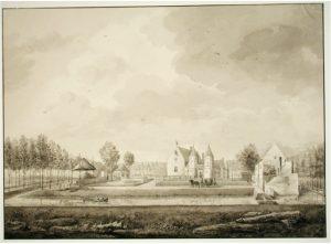 Zelandia Illustrata II-968.Popkensburggezien vanaf de voorzijde.Tekening door J.H. Reygers, 1823. Hoog 41,6 cm, breed 59,5 cm.In bruikleen bij het Zeeuws Archief.