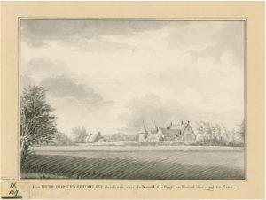 Zelandia Illustrata II-967.Popkensburggezien vanaf het dorp.Tekening door J.H. Reygers, 1808. Hoog 20 cm, breed 28,6 cm.In bruikleen bij het Zeeuws Archief.