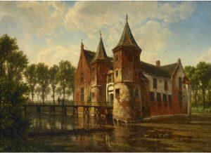G 2650. Schilderij van kasteelPopkensburgdoor W.J. van den Berghe, tweede helft negentiende eeuw.Olieverf op karton, hoog 30,5 cm, breed 41 cm.In bruikleen bij het Zeeuws Museum.