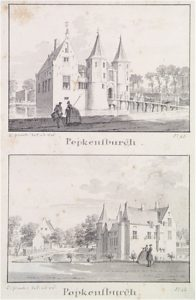 Zelandia Illustrata II-965.Popkensburg, voor- en achterzijde,getekend door Cornelis Pronk, 1743.Hoog 15 cm, breed 8 cm.In bruikleen bij het Zeeuws Archief.