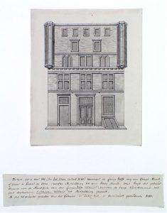 Zelandia Illustrata II-715. Het huisRosenburchin de Lange Delft te Middelburg, tekening door Pieter Snijdersmet aantekeningen van Jacob Verheye van Citters, 1782.Hoog 23 cm, breed 19 cm.In bruikleen bij het Zeeuws Archief.