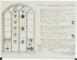 Zelandia Illustrata II-1979. Tekening van het glasraam van de Bontwerkers- of Tuyll van Serooskerkekapel in de Sint Lievensmonsterkerk te Zierikzee door Jacob Verheye van Citters.Hoog 26,8 cm, breed 25 cm.In bruikleen bij het Zeeuws Archief.