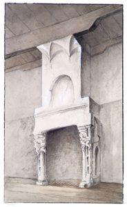 Zelandia Illustrata II-979a. Tekening door Jac. H. Hollestelle van de schoorsteen in de studeerkamer van Jacob Verheye van Citters op Popkensburg, negentiende eeuw.Hoog 16 cm, breed 9,4 cm.In bruikleen bij het Zeeuws Archief.