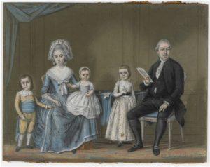Zelandia Illustrata aanwinst 281. Jacob Verheye van Citters en zijn gezin.Pasteltekening door Jelgershuis, 1785. Hoog 35 cm, breed 45 cm.In bruikleen bij het Zeeuws Archief.