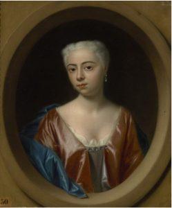 G 1524. Portret van Anna Sara Boudaen (1718-1781) door Philips van Dijk (1680-1753).Olieverf op doek, hoog 37,5 cm, breed 32,5 cm.In bruikleen bij het Zeeuws Museum.