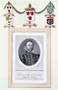 Zelandia Illustrata IV-883. Philibert van Serooskerke (1539-1579).Tekening door H. Pothoven naar schilderij, 1784. Hoog 19,5 cm, breed 13,2 cm.In bruikleen bij het Zeeuws Archief.
