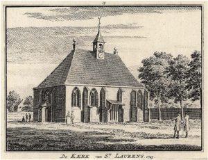 Zelandia Illustrata II- 961. De kerk van Sint-Laurens, kopergravure door H. Spilmannaar een tekening van Cornelis Pronk, 1743. Hoog 7,6 cm, breed 10,2 cm.In bruikleen bij het Zeeuws Archief.
