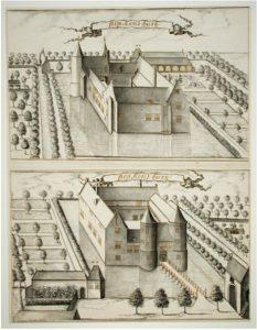 Zelandia Illustrata II-964. De voor- en achterzijde van kasteelPopkensburg.Tekening door I. Hildernisse, 1695. Hoog 55,3 cm, breed 42,5 cm.In bruikleen bij het Zeeuws Archief.