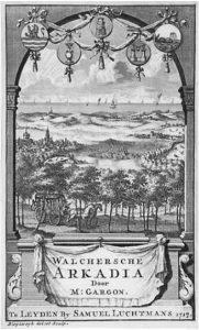 Zelandia Illustrata II-5. Titelpagina uit Gargon, Walcherse Arkadia, Leiden 1715.Kopergravure door Bleysweyk. Hoog 13,5 cm, breed 8,5 cm.In bruikleen bij het Zeeuws Archief.