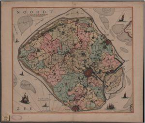 Zelandia Illustrata I-240. Kaart van Walcheren door N. Visscher,laatste kwart zeventiende eeuw, waarop in kleur de verschillende ambachten, steden, dorpen en buitenplaatsen zijn aangegeven. Hoog 46,5 cm, breed 53 cm.In bruikleen bij het Zeeuws Archief.