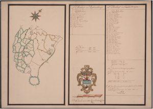 Zelandia Illustrata I-1339. Kaart van het Ambacht Popkensburg/Buttinge, 1679.Oriëntatie: NW boven. Hoog54,4 cm, breed74,8 cm.In bruikleen bij het Zeeuws Archief.