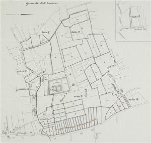 Zelandia Illustrata II-980. Plattegrond van de veiling van de hofsteden Het kasteel PopkensburgenKlein Popkensburg,steendruk, 1924. Hoog 56 cm, breed 55 cm.In bruikleen bij het Zeeuws Archief.