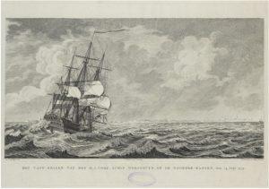 Zelandia Illustrata III-232Het vergaan van de Woestduyn voor Walcheren.Gravure door en naar tekening van D. de Jong met adres van J. de Leeuw, 1779.Hoog 32 cm, breed 41,5 cm.In bruikleen bij het Zeeuws Archief.