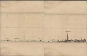Zelandia Illustrata II-8-10 en II-8-11De kust van Walcheren van Westkapelle tot Vlissingen.Twee pentekeningen uit een serie van 27 tekeningen door A. Moleyn, 1737.Hoog 32 cm, breed 20 cm.In bruikleen bij het Zeeuws Archief.