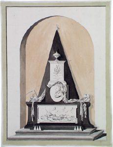 Zelandia Illustrata II-1274Grafmonument van Daniël O. Barwell in de Sint Jacobskerk te Vlissingen.Tekening in kleur, zonder naam en zonder jaar, begin 19de eeuw. Hoog 33,7 cm, breed 25,5 cm.In bruikleen bij het Zeeuws Archief.